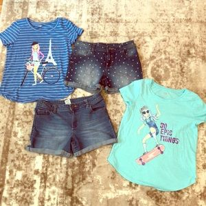 Girl's jean shorts set